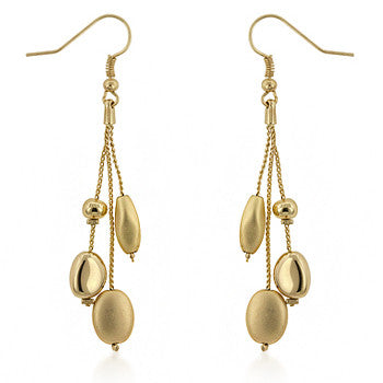 Golden Bead Drop Earrings