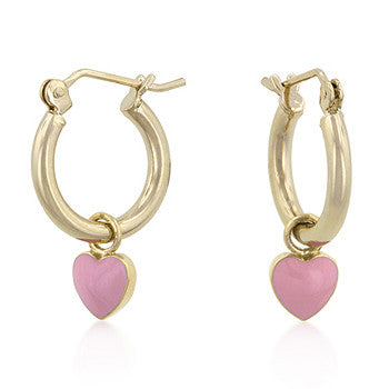 Enamel Heart Charm Hoop Earrings