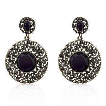 Golden Antique Filigree Black Crystal Earrings