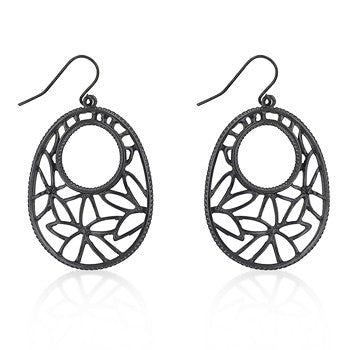 Hematite Plated Filigree Earrings