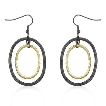 Two-Tone Textured Oval Hoops
