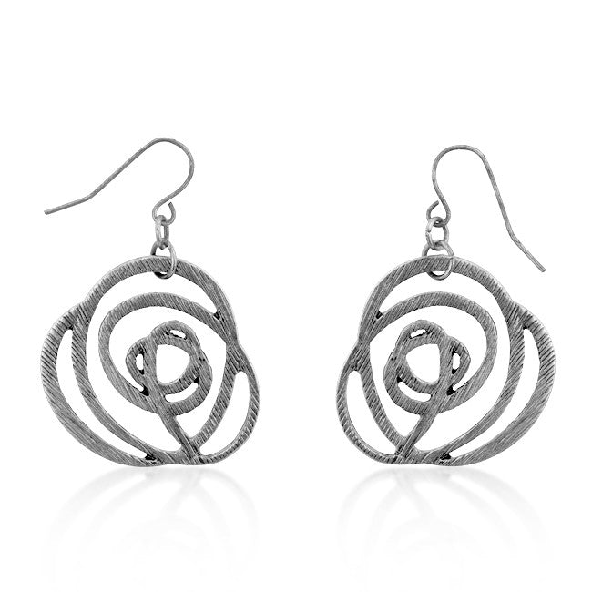 Silver Textured Filigree Floral Earrings