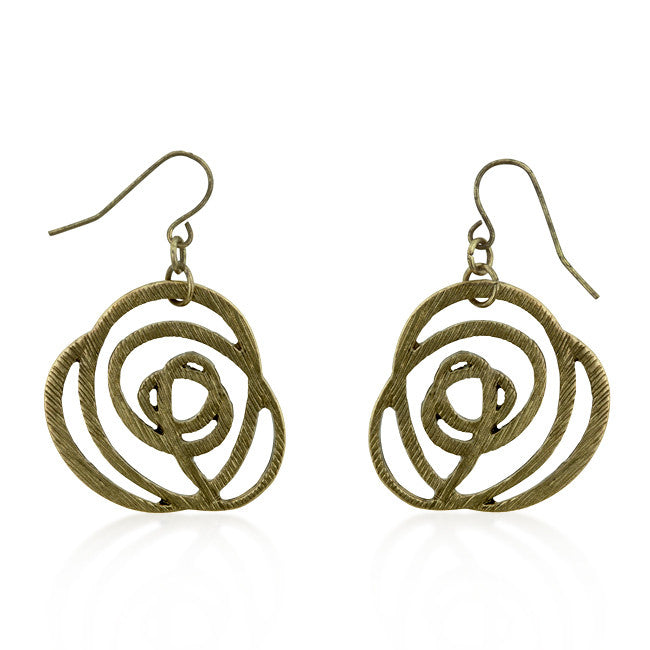 Golden Textured Filigree Floral Earrings