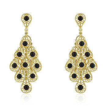Peacock Grandeur - Filigree Chandelier Earrings with Simulated Onyx Accents