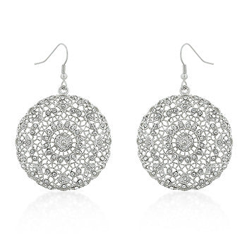 Filigree Open Face Crystal Earrings