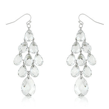 Diamond Chandelier - Elegant White Gold Chandelier Earrings with Dangling Simulated Crystals