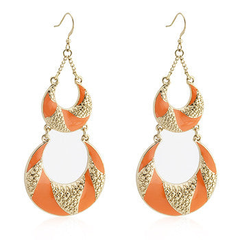 Orange Enamel Chandelier Earrings