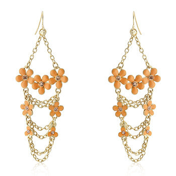 Crystal Floral Chandelier Earrings