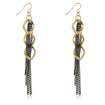 Two-Tone Double Chain Earrings
