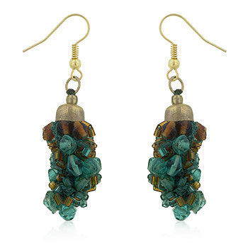Blue and Brown Beaded Drop Earrings