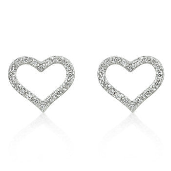 Open Heart CZ Earrings