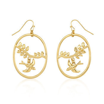 Matte Gold Overlap Dove Earrings
