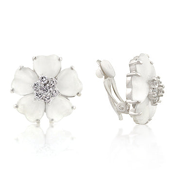 Autumn Flowers - Classic White Gold Bonded Floral Earrings With CZ and Stainless Steel Clip