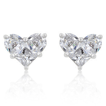 White CZ Heart Stud Earrings