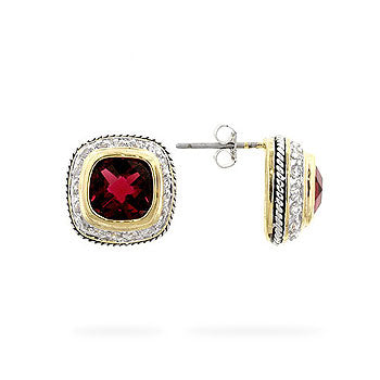 Royal Ruby - Chic 14k Gold Bonded Earrings with a Cushion Cut Ruby CZ and Round Cut Clear CZ Accents