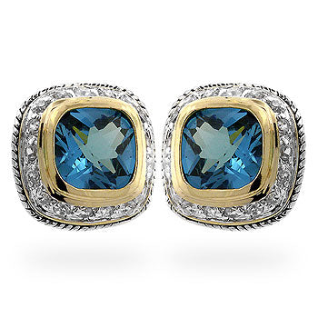 Aqua Crystal - Magnificient 14k Gold Bonded Earrings With Topaz CZ in Bezel Setting