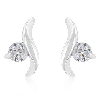 Twisting Solitaire CZ Earrings