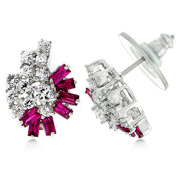 Pink Corals - Gorgeous Earrings with Round Cut Clear CZ and Baguette Ruby Cubic Zirconia