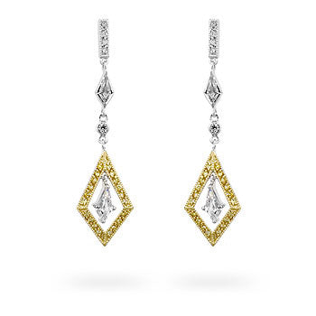 Hanging Diamonds - Two-tone Vintage CZ Drop Earrings