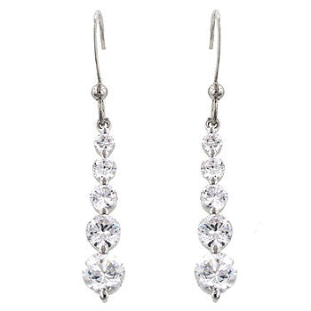 Crystal Droplets -Elegant White Gold  Bonded CZ  Earrings with a Fish Hook Backing