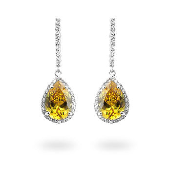 Golden Tear - Priceless White Gold Rhodium Bonded Earrings with Pear Cut Yellow CZ