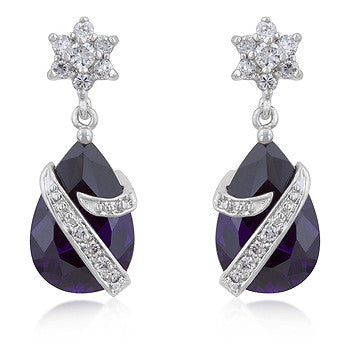 Wrapped in Violet - Classy Earrings with a Faceted Pear Cut Amethyst CZ and Round Cut Clear CZ Accents