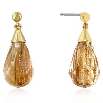 Champagne - Spectacular 14k Gold Bonded Earring with a Faceted CZ Drop in Goldtone