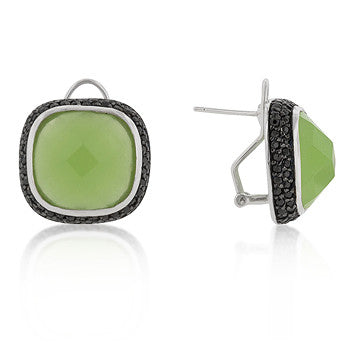 Kiwi Crystals - White Gold Bonded Earrings with Cushion Cut Green Jade CZ and Black Jewelers Ink Accents