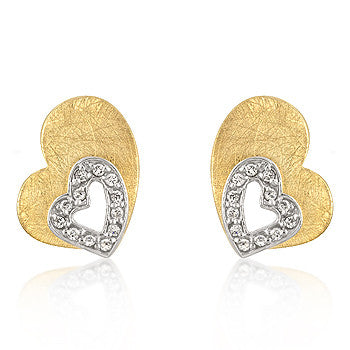 Brushed Gold Hearts Earrings