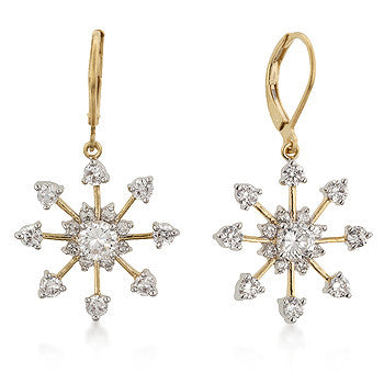 Snowflake Drops in 18K Gold