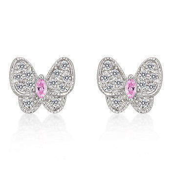 Pink and White CZ Butterfly Earrings