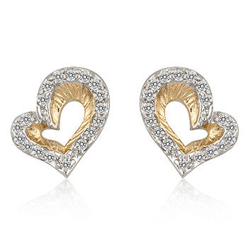 Heart CZ Cluster Earrings