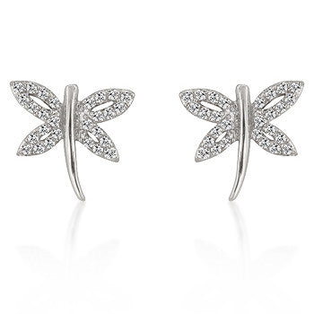 Silver Winged - Sparkling White Gold Rhodium Bonded CZ Dragonfly Earrings in Silvertone