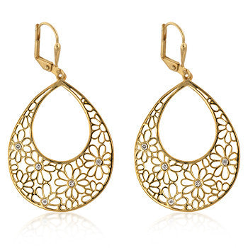 Goldtone Floral Drop Earrings