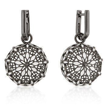 French Victorian Black And White Earrings