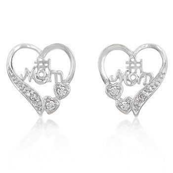 No. 1 Mom Heart Earrings