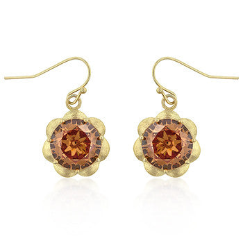 Floral Champagne CZ Earrings