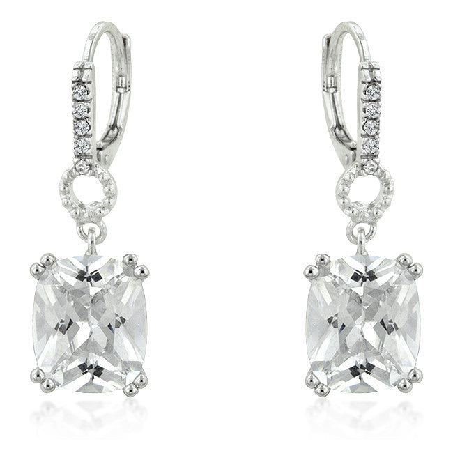 Crystal Cubes -Timeless White Gold Bonded Earrings Featuring Clear Cubic Zirconia