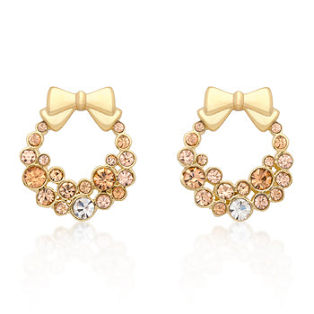 Golden Knot - Exquisite 14k Gold Bonded Earrings with Round Cut Champagne Crystals
