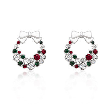 Hanging Berries - White Gold Rhodium Bonded Earrings featuring Round Cut Garnet Green