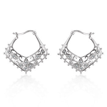 Floral Filigree Hoop Earrings