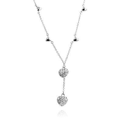 Pave Heart Drop Necklace