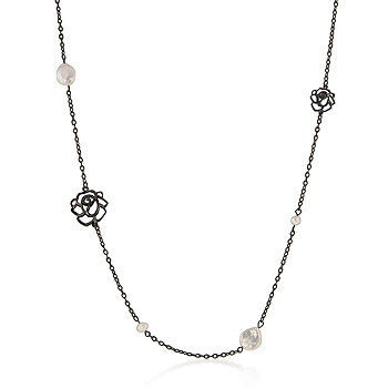 Black Pearl Rose Necklace