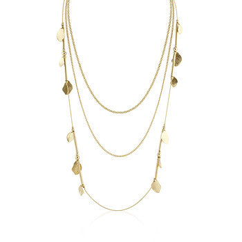 Golden Leaf and Multi-Chain Necklace