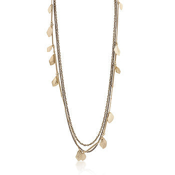 Antique Golden Leaf and Multi-Chain Necklace