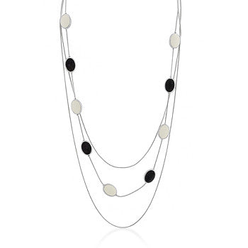 Black and White Enamel Necklace