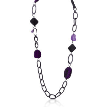 Purple Beaded Chain Link Necklace