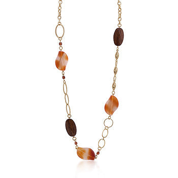 Gold Chain Necklace Warm Colored Stones