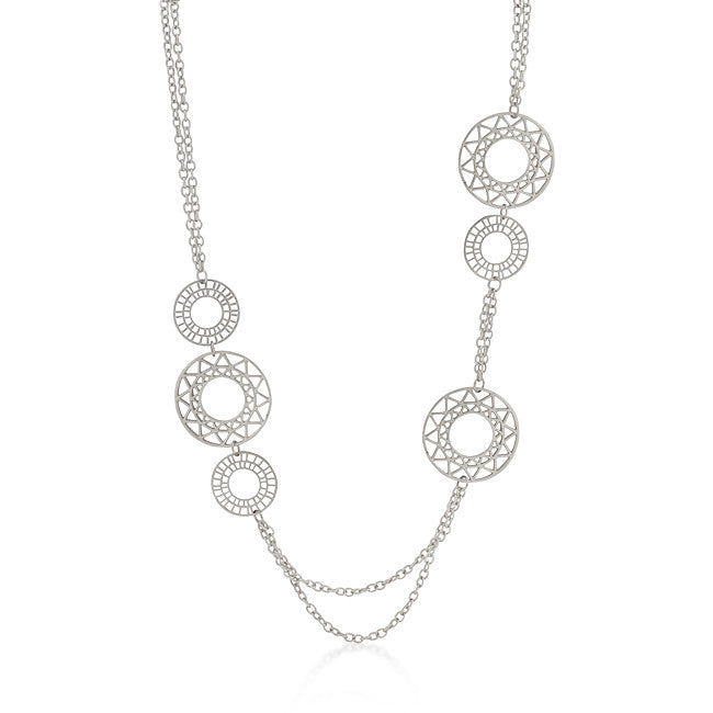 Vintage Filigree Circles Necklace in Silvertone