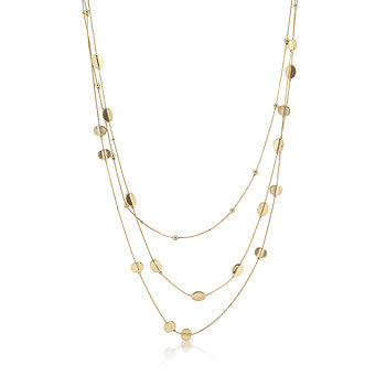 Triple Layer Golden Bead Necklace
